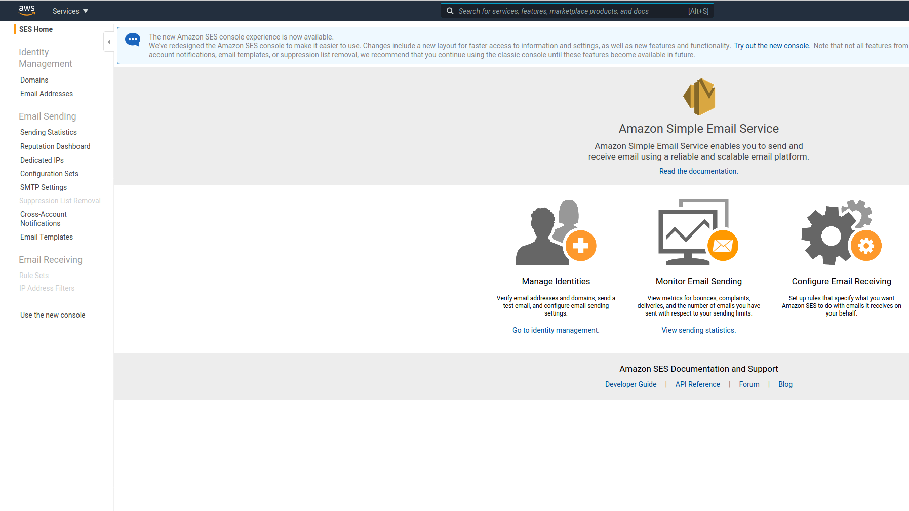 aws ses dashboard
